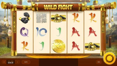Wild Fight Review Slots Main game board featuring five reels and 20 paylines with a $3,750 max payout.