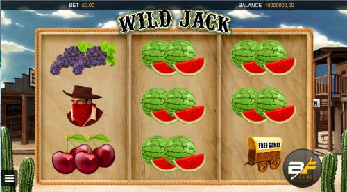 Wild Jack Review Slots A cowboy western themed main game board featuring three reels and 27 ways to win.