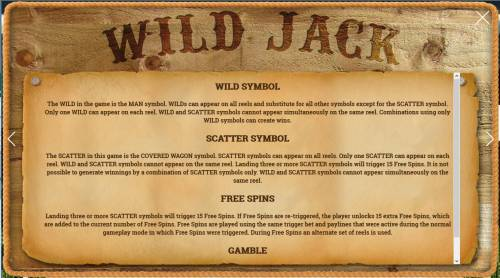 Wild Jack Review Slots Free Games, Wild Symbol, Bonus and Gamble feature rules.