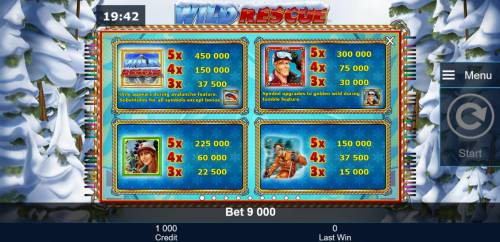 Wild Rescue Review Slots High value slot game symbols paytable featuring snow skiing inspired icons.