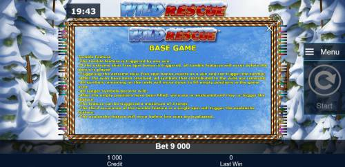 Wild Rescue Review Slots Tumble Feature Game Rules