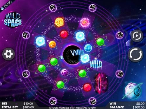 Wild Space Review Slots An outer space themed main game board featuring one reel and 8 paylines with a $400,000 max payout
