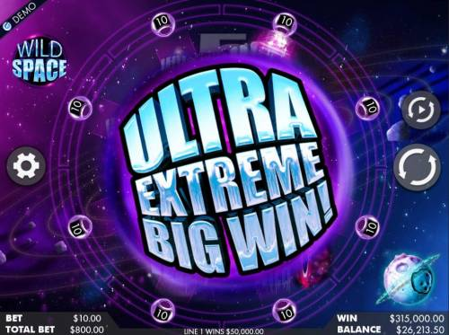 Wild Space Review Slots An ultre extreme big win triggered.