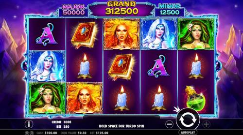 Wild Spells Review Slots Main game board featuring five reels and 25 paylines with a $10,000 max payout.