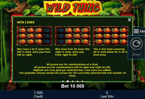 Wild Thing Review Slots Win lines 1 to 5 cover the left 3 reels, wins pay from left to right. Win lines 6 to 10 cover the right 3 reels, win pay from right to left.