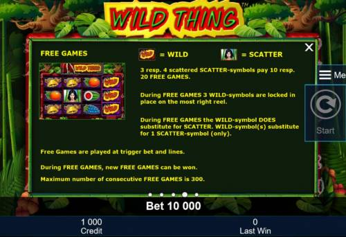 Wild Thing Review Slots three or more scattered scatter symbols pay 10 to 20 free games.