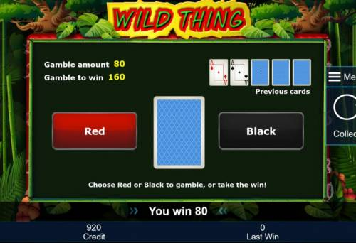 Wild Thing Review Slots Gamble Feature Rules - The feature is available after each winning spin. Last win amount becomes your stake in the Gamble game. Your goal is to guess the color of the next card.