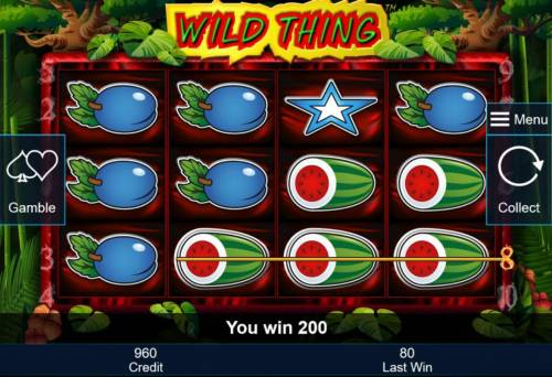 Wild Thing Review Slots A winning Three of a Kind.