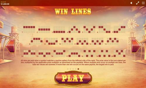 Wild Wild Chest Review Slots Payline Diagrams 1-20. All wins are paid when a symbol matches a payline pattern from the leftmost side of the reels.
