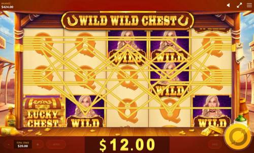 Wild Wild Chest Review Slots Wilds across the reels triggers multiple winning combinations.