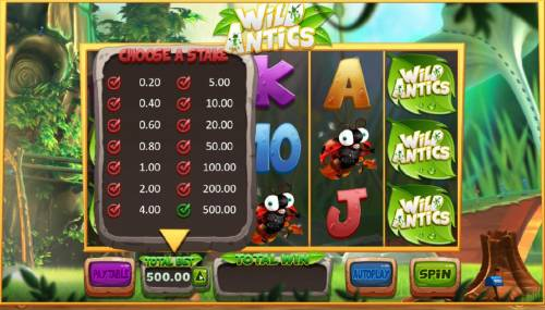 Wild Antics Review Slots To adjust the bet level, simply click-on Total Bet and select the total stake that fits your comfort level.