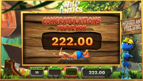 Wild Antics Review Slots The free spins feature pays out a total of 222.00 for a big win.