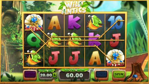Wild Antics Review Slots Roaming wilds trigger multiple winning paylines and a big win.