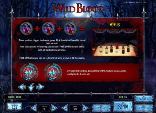 Wild Blood Review Slots bonus feature and free spins game rules