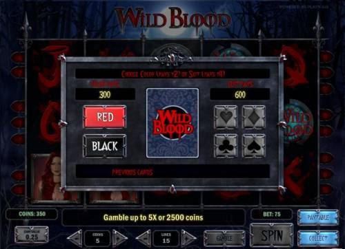 Wild Blood Review Slots gamble feature game board - choose color or suit for a chance to increase your winnings