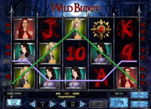 Wild Blood Review Slots 375 coin jackpot triggered by multiple winning paylines