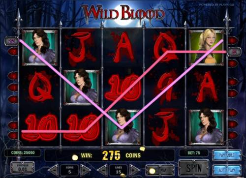 Wild Blood Review Slots multiple winning paylines triggers a 275 coin big win payout