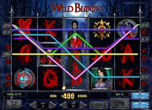 Wild Blood Review Slots expanding wild leads to a 400 coin jackpot