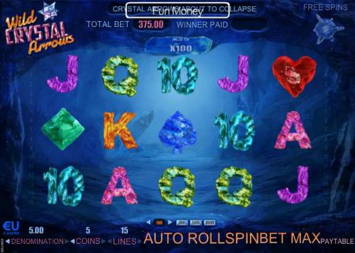 Wild Crystal Arrows Review Slots Main game board featuring five reels and 17 paylines with a $37,500 max payout
