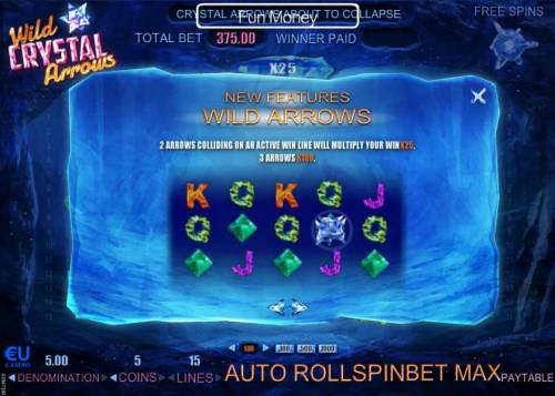 Wild Crystal Arrows Review Slots Two arrows colliding on an active win line will multiply your win x25, 3 arrows x100.