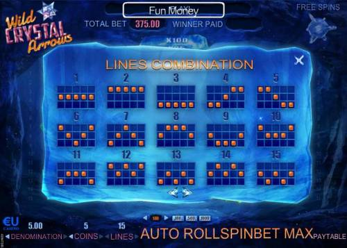 Wild Crystal Arrows Review Slots Payline Diagrams 1-15