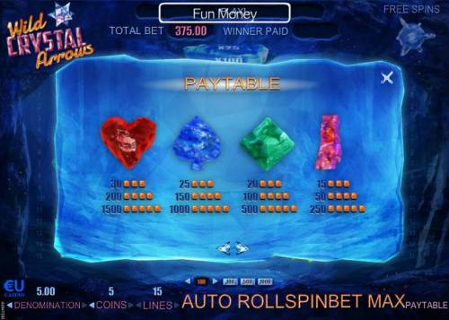 Wild Crystal Arrows Review Slots Slot game symbols paytable