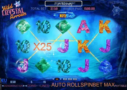 Wild Crystal Arrows Review Slots Two arrow symbols collide on reel 2 thus triggering multiple winning paylines with an x25 multiplier.