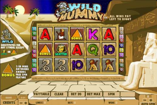 Wild Mummy Review Slots main game board featuring five reels and twenty paylines