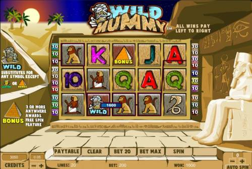 Wild Mummy Review Slots four of a kind triggers a 1600 coin big win jackpot