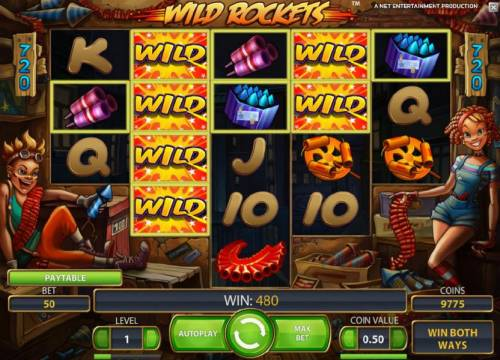 Wild Rockets Review Slots another big win, expanding wilds triggers a 480 payout