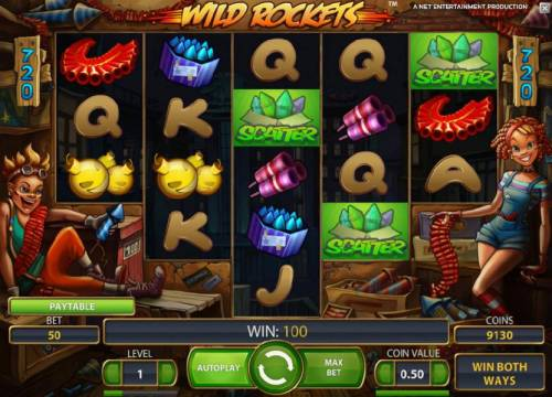 Wild Rockets Review Slots three scatter symbols triggers free spins bonus feature