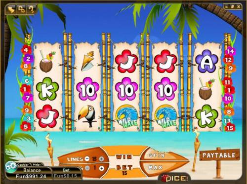 Wild Waves Review Slots main game board featuring 5 reels and 15 paylines