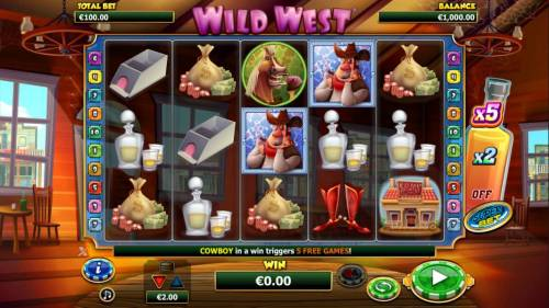 Wild West Review Slots Main game board featuring five reels and 10 paylines with a $2,000 max payout