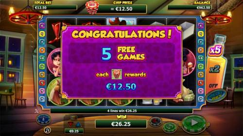 Wild West Review Slots Cowboy on any reel triggers five free games and each chipstack rewards what your initiam base game bet is.