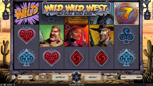 Wild Wild West The Great Train Heist Review Slots Main game board featuring five reels and 10 paylines with a $100,000 max payout
