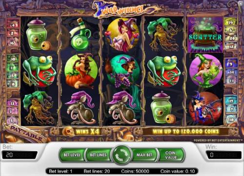 Wild Witches Review Slots main game board featuring five reels, twenty paylines and a chance to win up to 120,000 coins