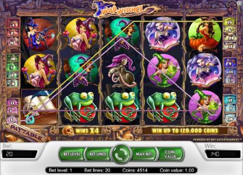 Wild Witches Review Slots multiple three of a kinds triggers a 140 coin big win