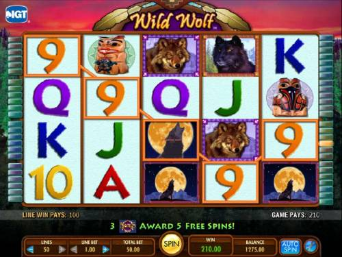 Wild  Wolf Review Slots five of a kind triggers 210 coin jackpot