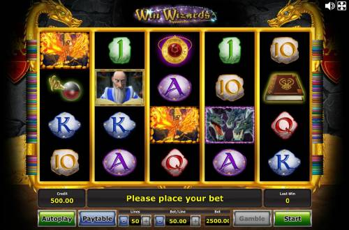 Win Wizards Review Slots Main game board featuring five reels and 50 paylines with a $1,250,000 max payout