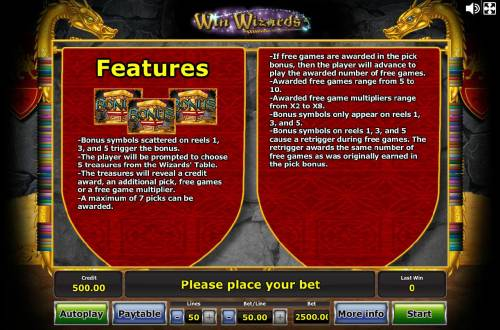 Win Wizards Review Slots Bonus feature rules - Bonus symbols scattered on reels 1, 3 and 5 trigger the Bonus....