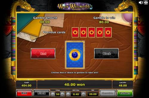 Win Wizards Review Slots Gamble Feature - To gamble any win press Gamble then select Red/Black.