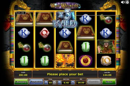Win Wizards Review Slots A wild 3x multiplier leads to a big line payout.