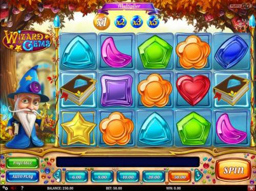 Wizard of Gems Review Slots Main game board based on Merlin the magician theme, featuring five reels and 20 paylines with a $625,000 max payout