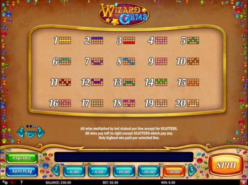 Wizard of Gems Review Slots Payline Diagrams 1-20 All wins multiplied by bet stacked per line except for scatters. All wins pay left to right except scatters which pay any. Only highest win paid per selected line.