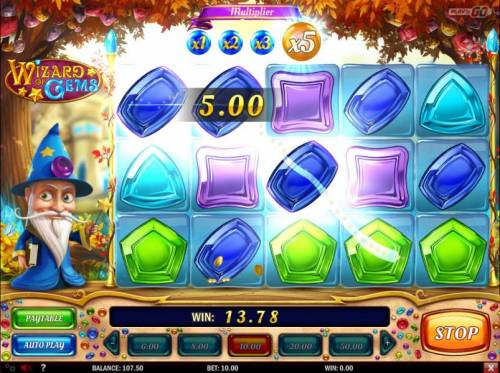 Wizard of Gems Review Slots A big win triggered by an x5 multiplier.