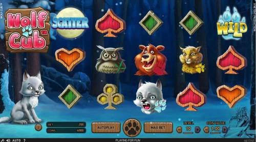 Wolf Cub Review Slots An outdoor adventure themed main game board featuring five reels and 20 paylines with a $4,000,000 max payout
