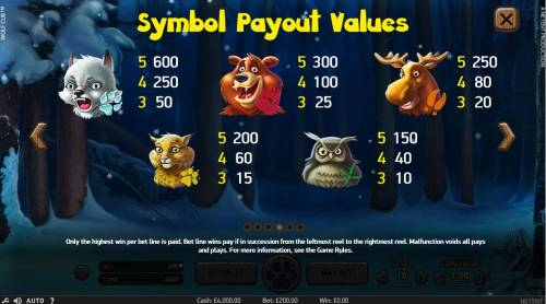 Wolf Cub Review Slots High value slot game symbols paytable featuring baby animal inspired icons.