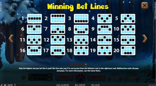 Wolf Cub Review Slots Payline Diagrams 1-20. Only highest win per bet line is paid. Bet line wins pay if in succession from the leftmost reel to the rightmost reel.