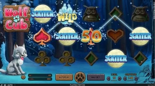 Wolf Cub Review Slots Scattered Full Moon scatter symbols activates the Free Spins feature.