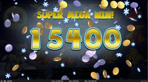 Wolf Cub Review Slots Super Mega Win of 15,400 triggered during the free spins feature.